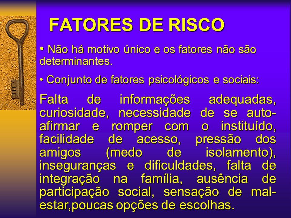 FATORES DE RISCO Não há motivo único e os fatores não são determinantes. Conjunto de fatores psicológicos e sociais: