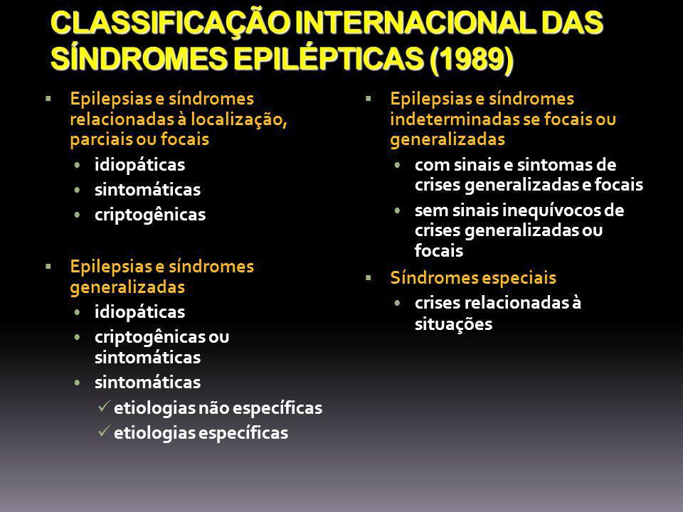 CLASSIFICAÇÃO INTERNACIONAL DAS SÍNDROMES EPILÉPTICAS (1989)