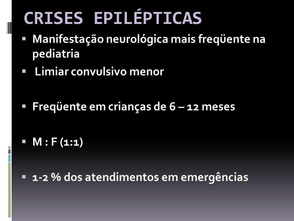 CRISES EPILÉPTICAS Manifestação neurológica mais freqüente na pediatria. Limiar convulsivo menor.