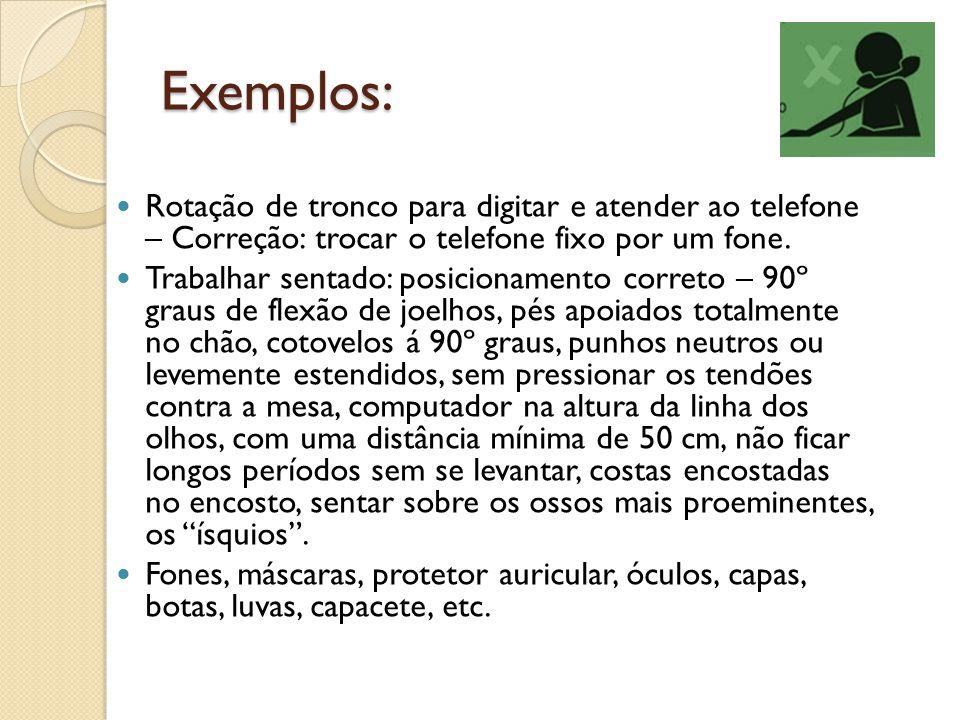 Exemplos: Rotação de tronco para digitar e atender ao telefone – Correção: trocar o telefone fixo por um fone.