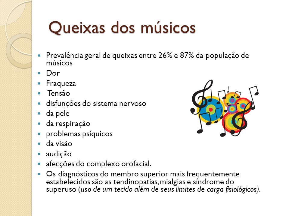 Queixas dos músicos Prevalência geral de queixas entre 26% e 87% da população de músicos. Dor. Fraqueza.