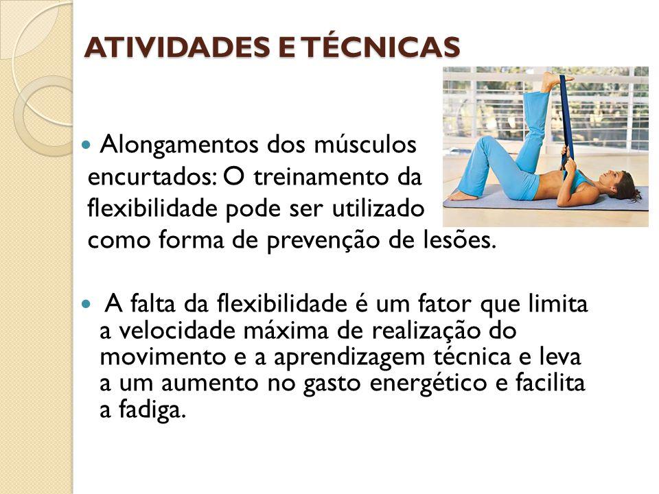 ATIVIDADES E TÉCNICAS Alongamentos dos músculos