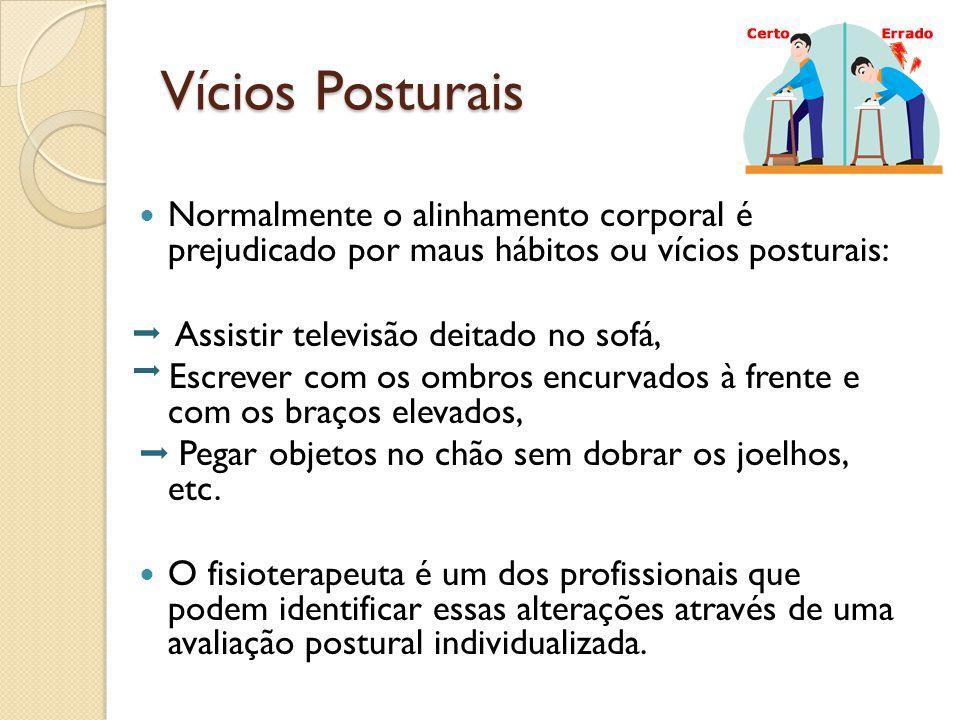 Vícios Posturais Normalmente o alinhamento corporal é prejudicado por maus hábitos ou vícios posturais: