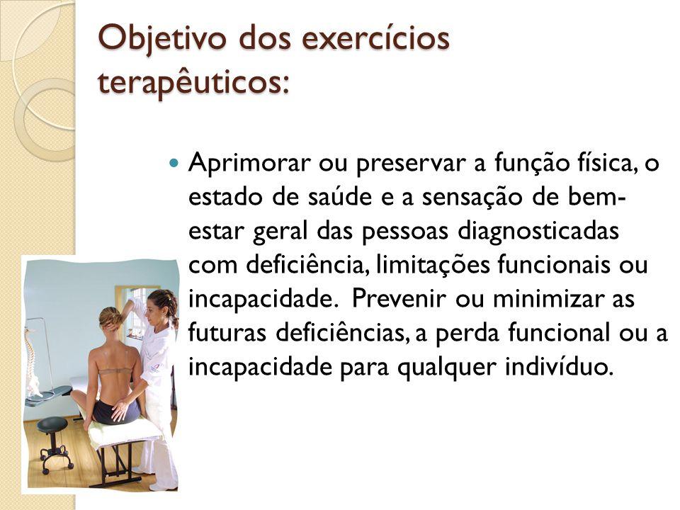 Objetivo dos exercícios terapêuticos: