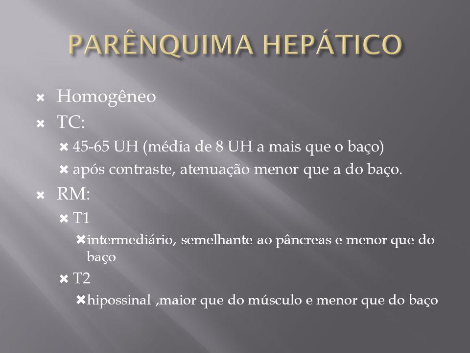 PARÊNQUIMA HEPÁTICO Homogêneo TC: RM: