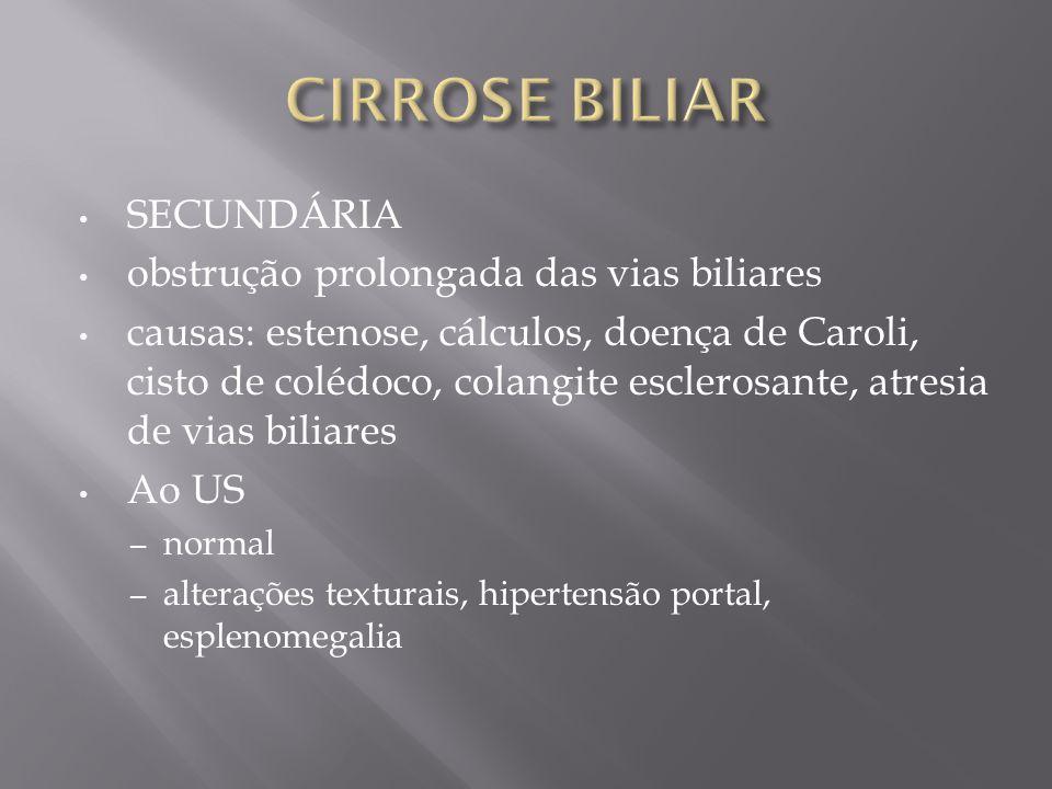 CIRROSE BILIAR SECUNDÁRIA obstrução prolongada das vias biliares