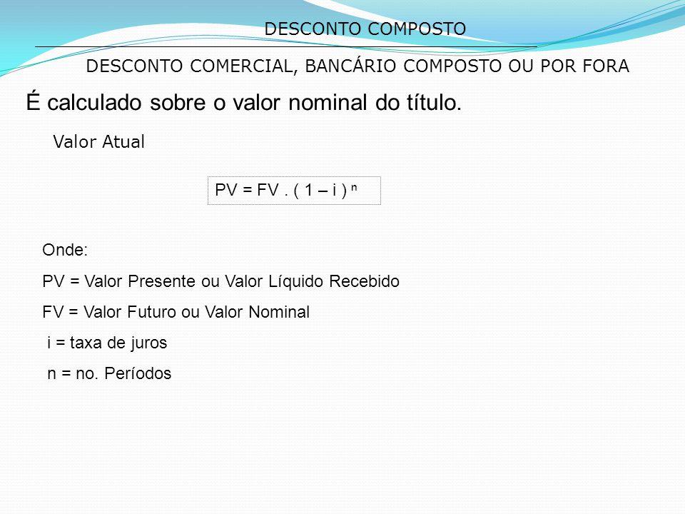 DESCONTO COMERCIAL, BANCÁRIO COMPOSTO OU POR FORA