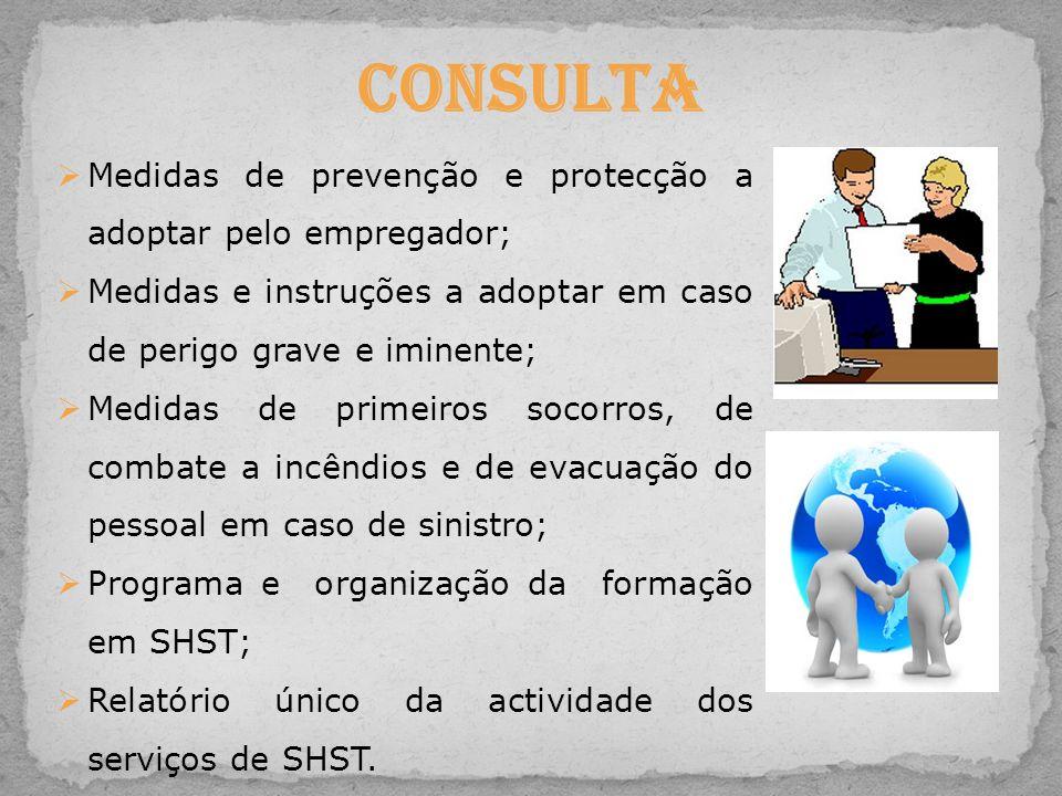 Consulta Medidas de prevenção e protecção a adoptar pelo empregador;