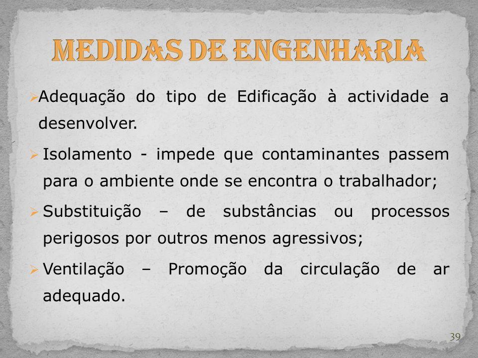 Medidas de Engenharia Adequação do tipo de Edificação à actividade a desenvolver.