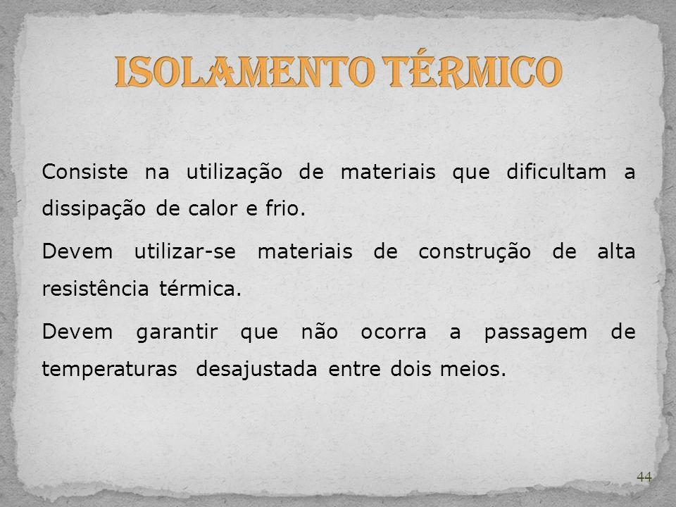 Isolamento Térmico Consiste na utilização de materiais que dificultam a dissipação de calor e frio.