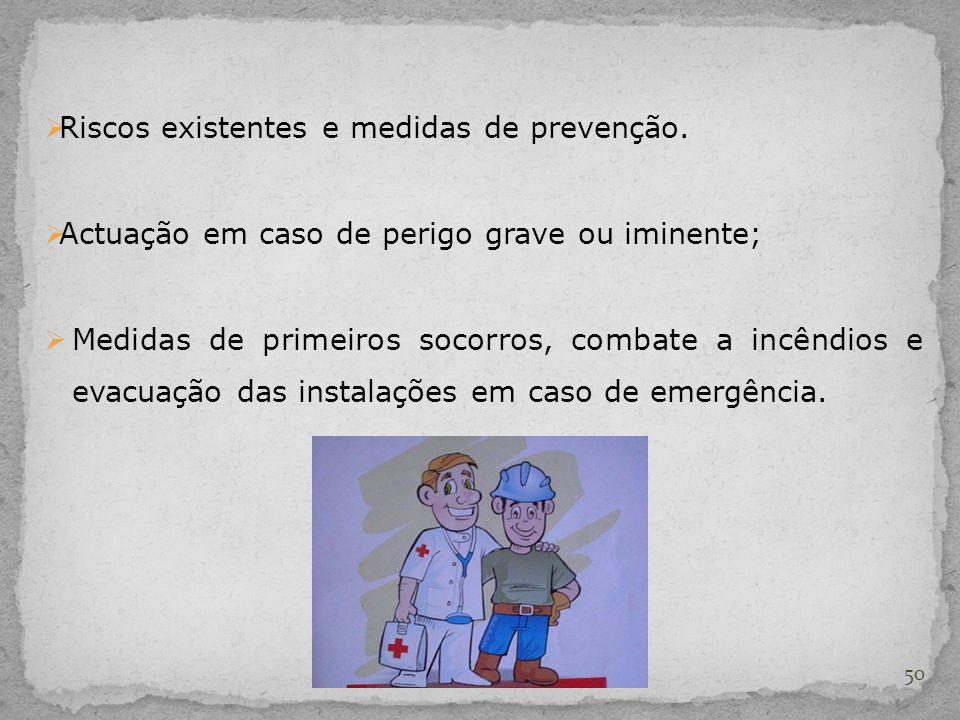 Riscos existentes e medidas de prevenção.