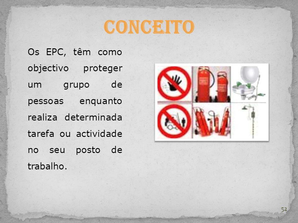 Conceito Os EPC, têm como objectivo proteger um grupo de pessoas enquanto realiza determinada tarefa ou actividade no seu posto de trabalho.
