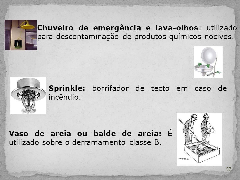 Chuveiro de emergência e lava-olhos: utilizado para descontaminação de produtos químicos nocivos.