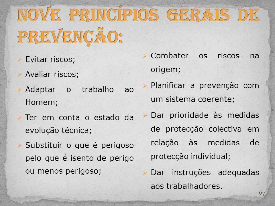 Nove princípios gerais de prevenção: