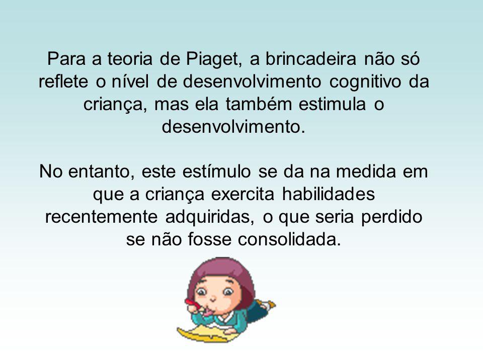 Para a teoria de Piaget, a brincadeira não só reflete o nível de desenvolvimento cognitivo da criança, mas ela também estimula o desenvolvimento.