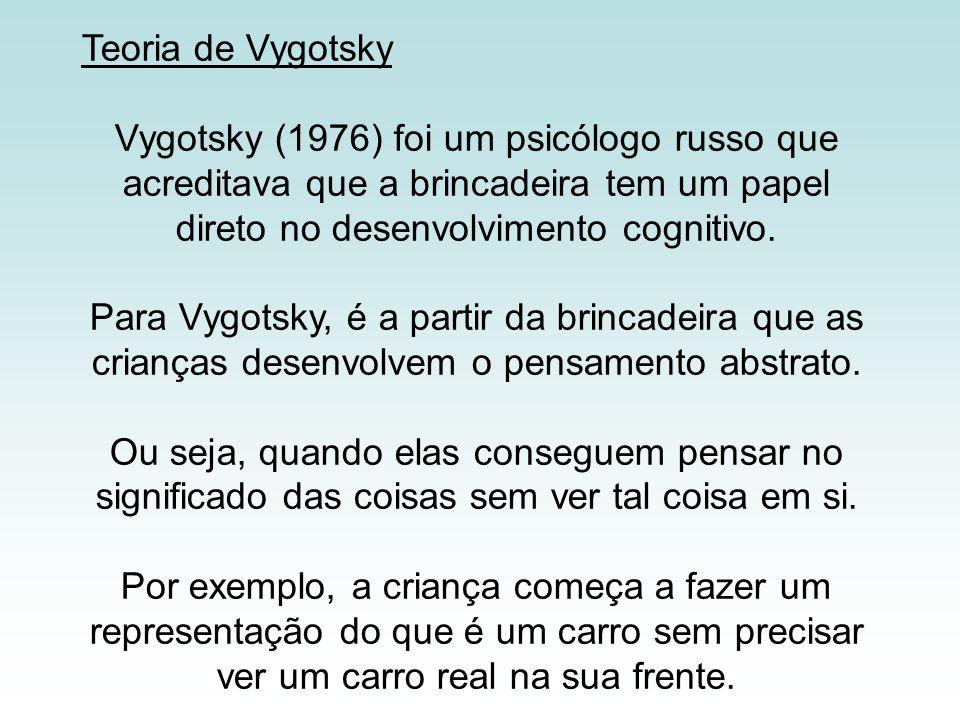 Teoria de Vygotsky Vygotsky (1976) foi um psicólogo russo que acreditava que a brincadeira tem um papel direto no desenvolvimento cognitivo.