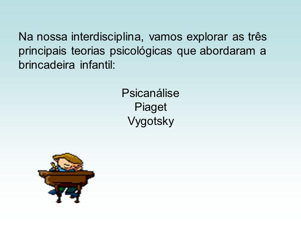 Na nossa interdisciplina, vamos explorar as três principais teorias psicológicas que abordaram a brincadeira infantil: