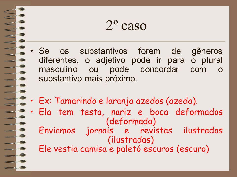 2º caso Se os substantivos forem de gêneros diferentes, o adjetivo pode ir para o plural masculino ou pode concordar com o substantivo mais próximo.