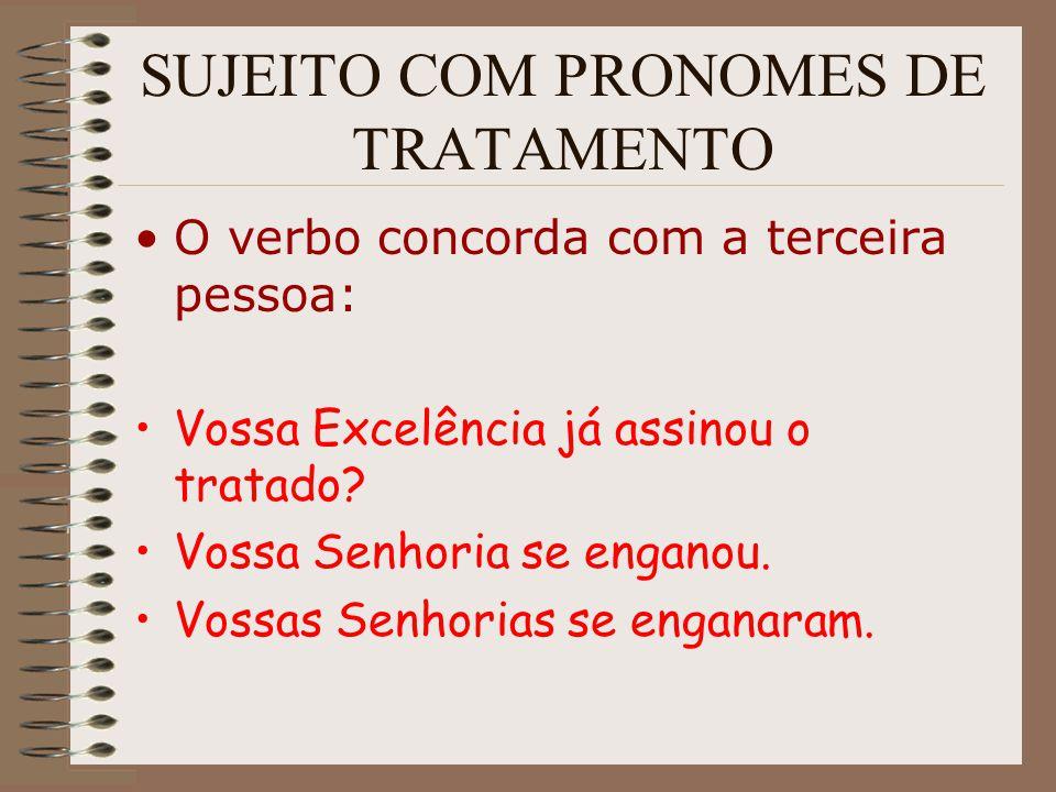 SUJEITO COM PRONOMES DE TRATAMENTO