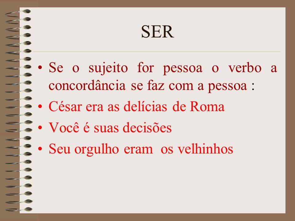 SER Se o sujeito for pessoa o verbo a concordância se faz com a pessoa : César era as delícias de Roma.