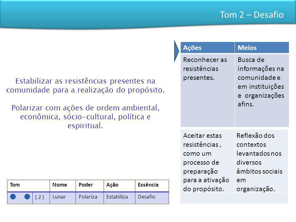 Tom 2 – Desafio Ações Meios Reconhecer as resistências presentes.