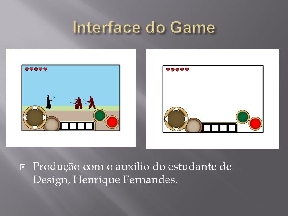Interface do Game Produção com o auxílio do estudante de Design, Henrique Fernandes.