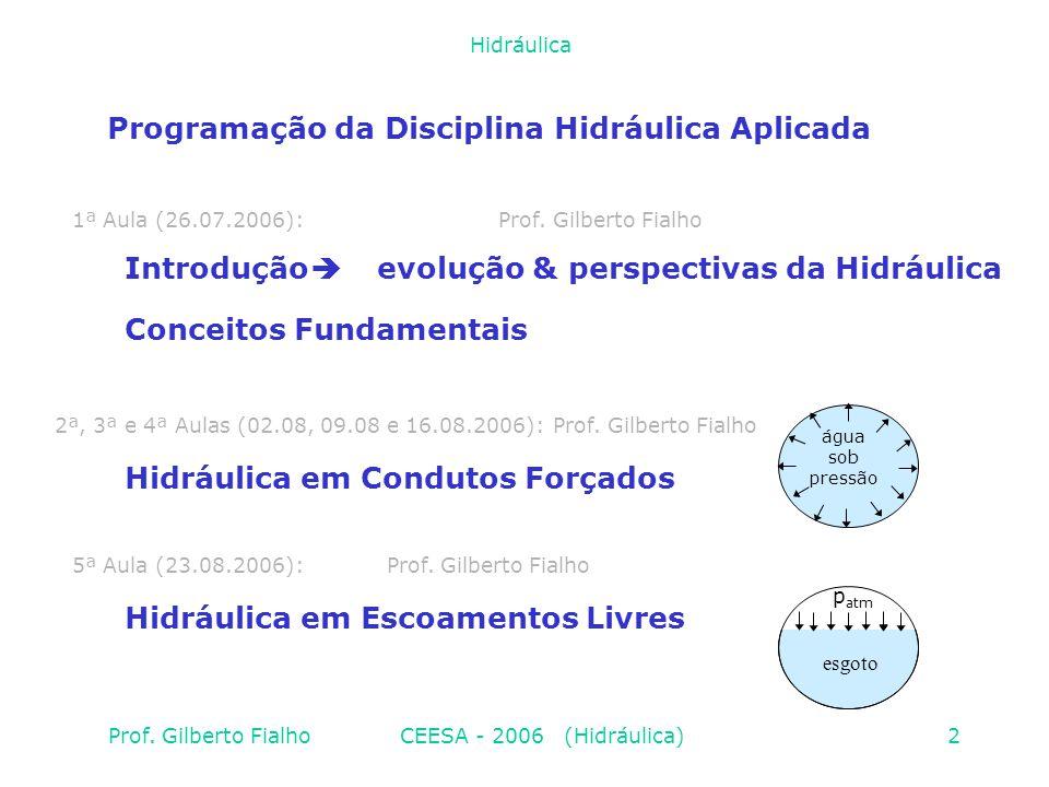 Programação da Disciplina Hidráulica Aplicada