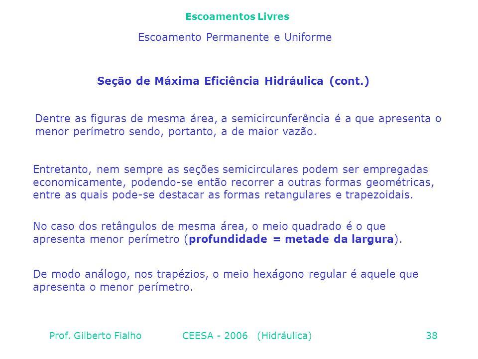 Seção de Máxima Eficiência Hidráulica (cont.)