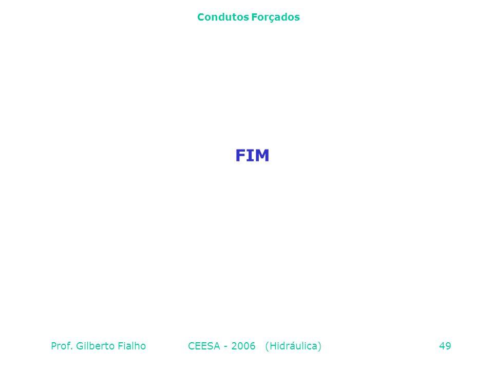 Condutos Forçados FIM Prof. Gilberto Fialho CEESA - 2006 (Hidráulica)