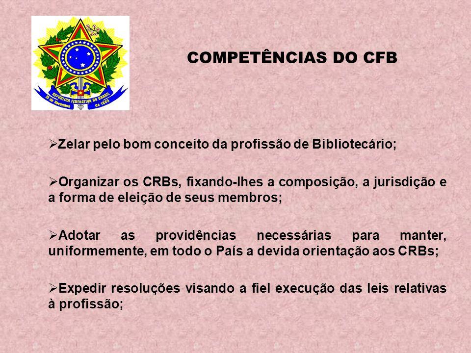COMPETÊNCIAS DO CFB Zelar pelo bom conceito da profissão de Bibliotecário;