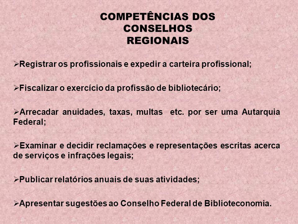 COMPETÊNCIAS DOS CONSELHOS REGIONAIS