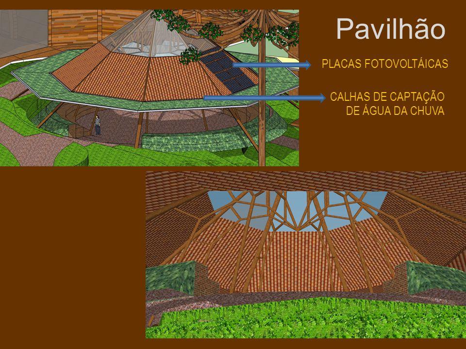 Pavilhão PLACAS FOTOVOLTÁICAS CALHAS DE CAPTAÇÃO DE ÁGUA DA CHUVA