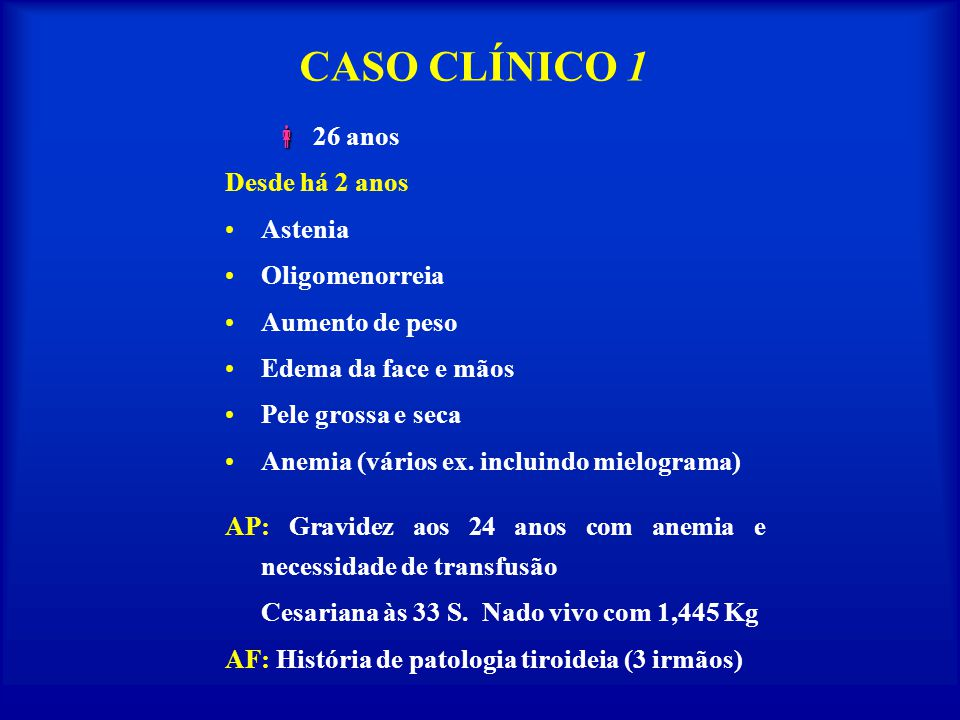 CASO CLÍNICO 1  26 anos Desde há 2 anos Astenia Oligomenorreia