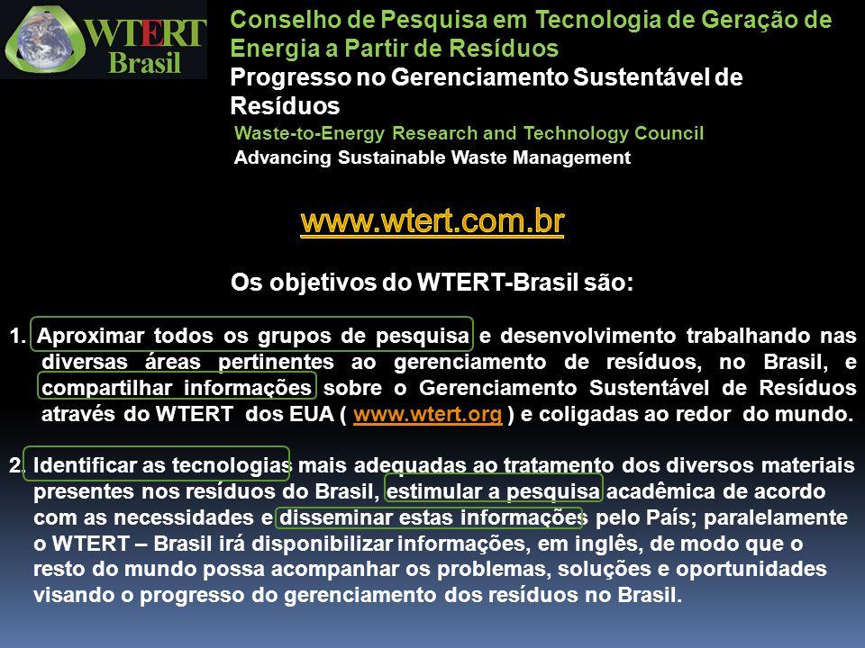 Os objetivos do WTERT-Brasil são:
