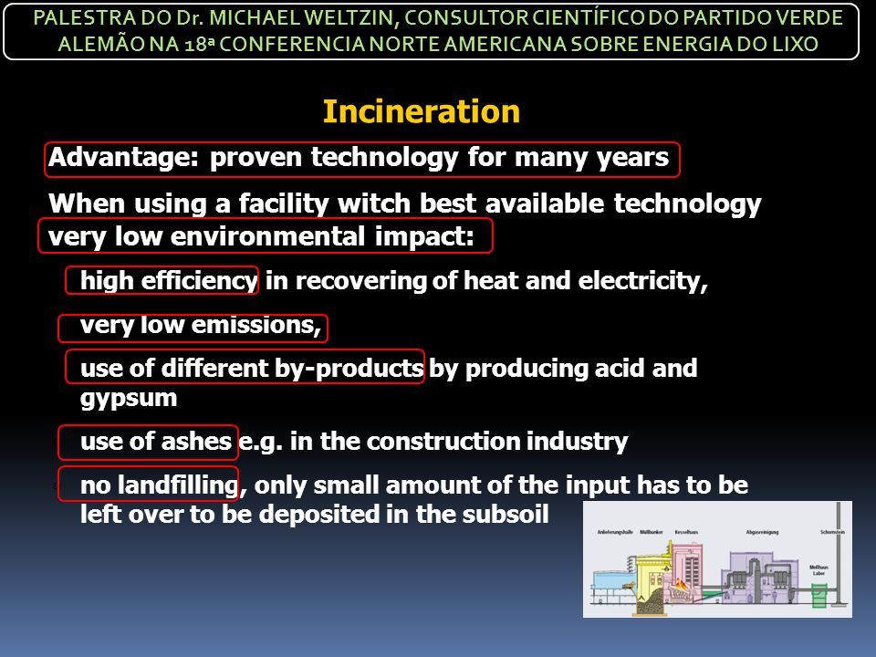 Incineration Advantage: proven technology for many years
