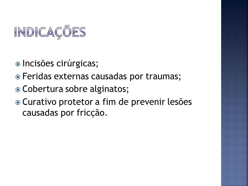 Indicações Incisões cirúrgicas; Feridas externas causadas por traumas;