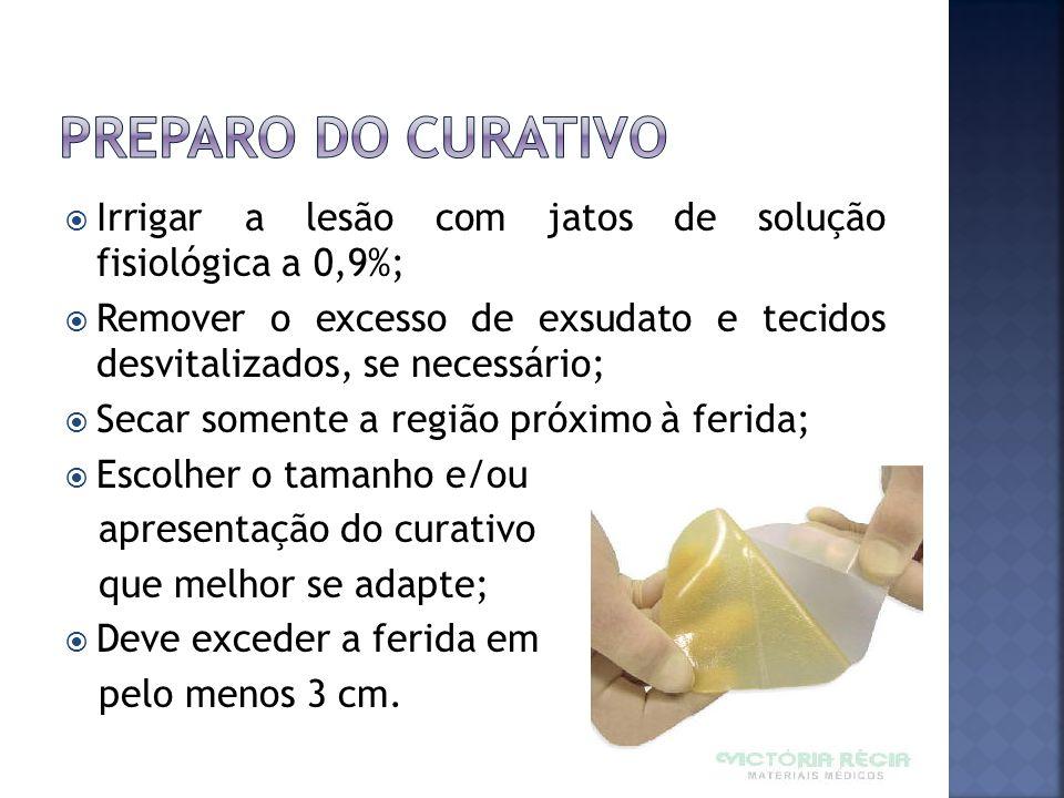 Preparo do curativo Irrigar a lesão com jatos de solução fisiológica a 0,9%;