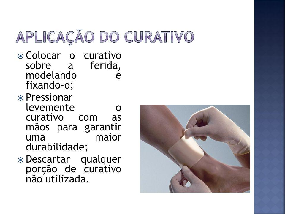 Aplicação do curativo Colocar o curativo sobre a ferida, modelando e fixando-o;