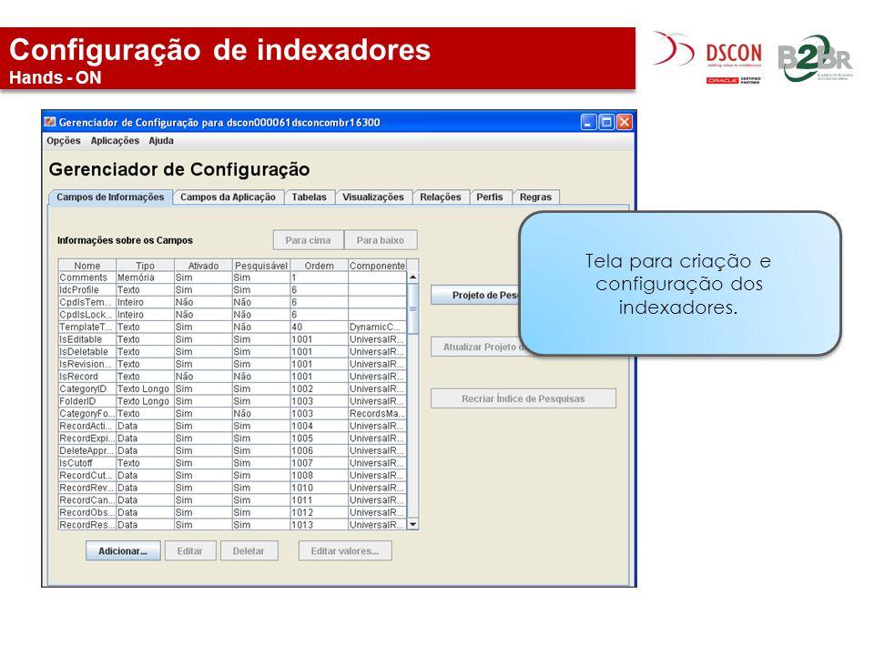Configuração de indexadores Hands - ON