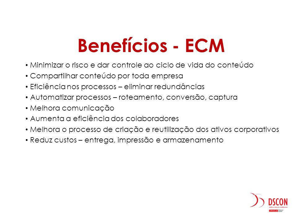 Benefícios - ECM Minimizar o risco e dar controle ao ciclo de vida do conteúdo. Compartilhar conteúdo por toda empresa.