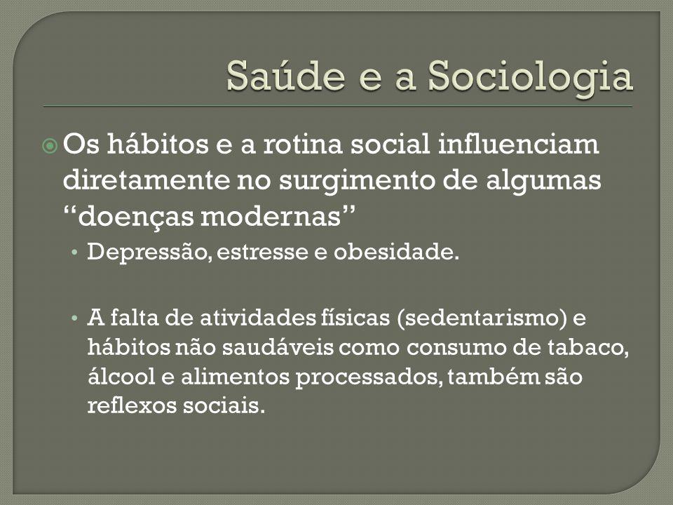 Saúde e a Sociologia Os hábitos e a rotina social influenciam diretamente no surgimento de algumas doenças modernas