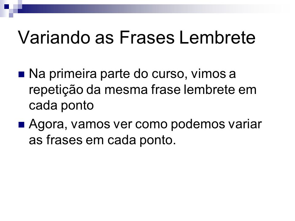 Variando as Frases Lembrete