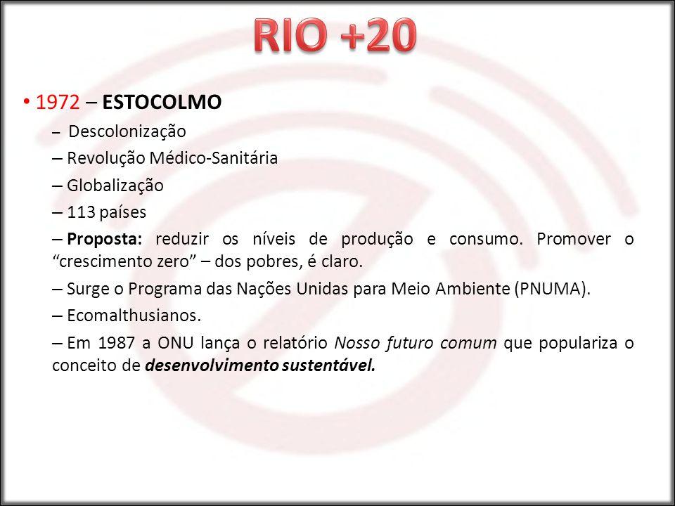 RIO +20 1972 – ESTOCOLMO Revolução Médico-Sanitária Globalização