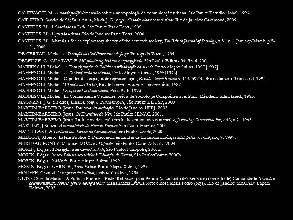 CANEVACCI, M. A cidade polifônica: ensaio sobre a antropologia da comunicação urbana.