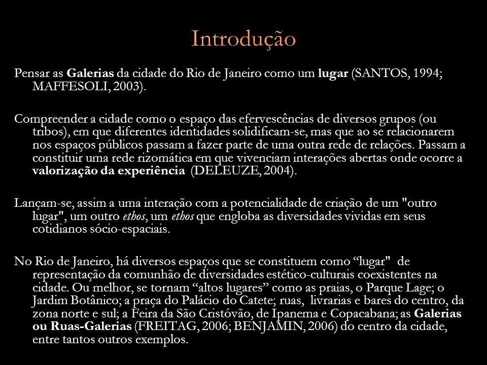 Introdução Pensar as Galerias da cidade do Rio de Janeiro como um lugar (SANTOS, 1994; MAFFESOLI, 2003).