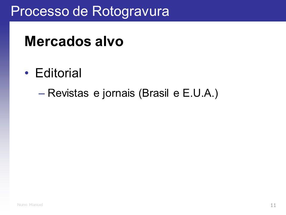 Mercados alvo Editorial Revistas e jornais (Brasil e E.U.A.)