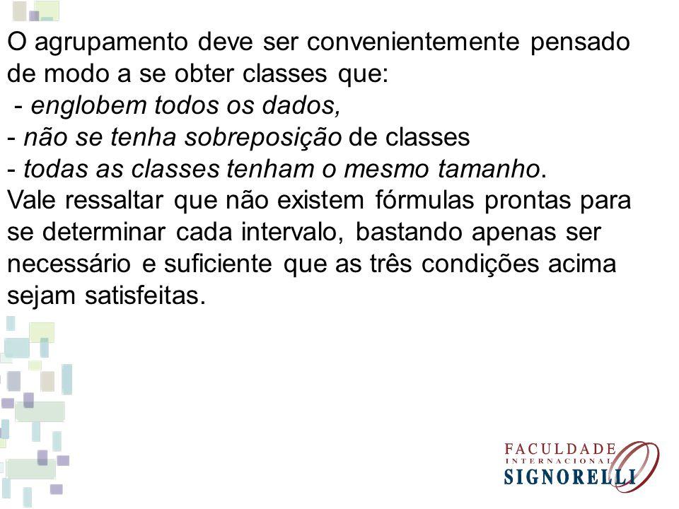 O agrupamento deve ser convenientemente pensado de modo a se obter classes que: