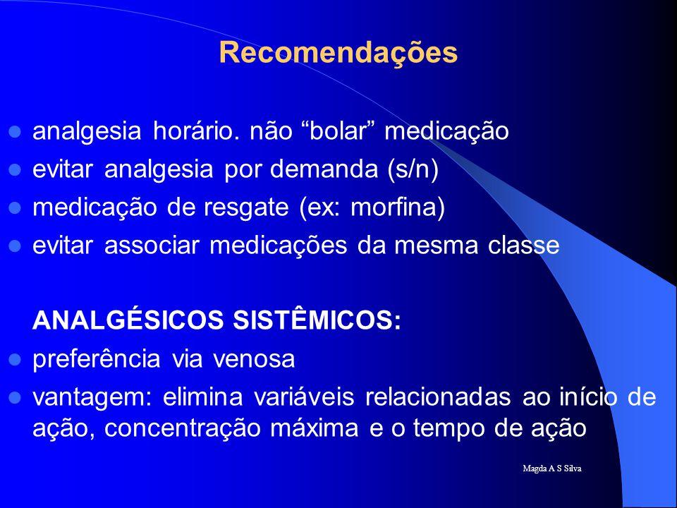 Recomendações analgesia horário. não bolar medicação