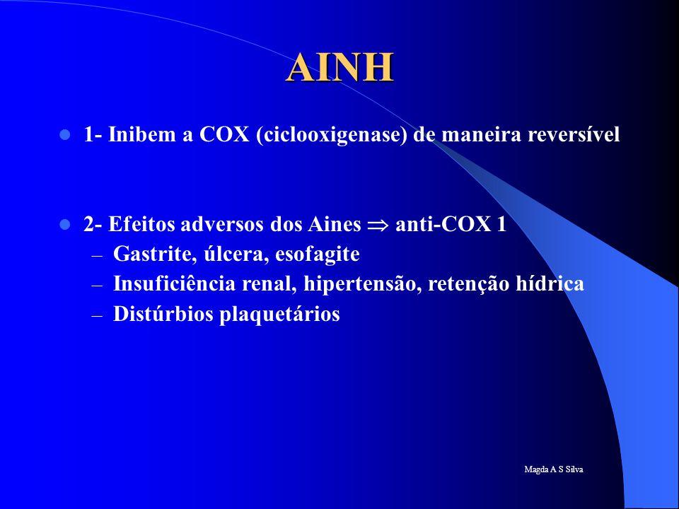AINH 1- Inibem a COX (ciclooxigenase) de maneira reversível