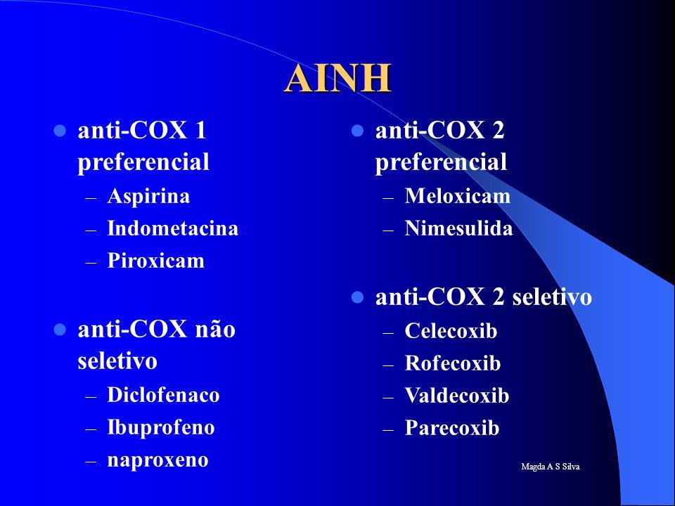 AINH anti-COX 1 preferencial anti-COX não seletivo